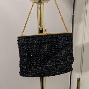 Richere made in Hong Kong black beaded  purse.